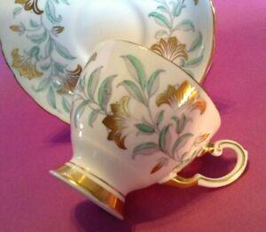Tuscan-Pedestal-Teacup-And-Saucer-Turquoise-Gray-Gold-Art-Nouveau-England