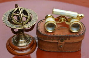 """Antiques Systematic 5"""" Brass Armillary With Brass 3.75"""" Mother Of Pearl Binocular With Leather Box Pure Whiteness"""