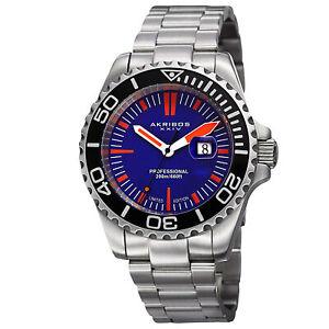 New-Men-039-s-Akribos-XXIV-AK735BU-Limited-Edition-Divers-Date-Blue-Dial-Watch