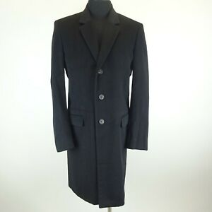 Jil Sander Black Cashmere 3 Button Taylor Made Lined Peacoat Size 48