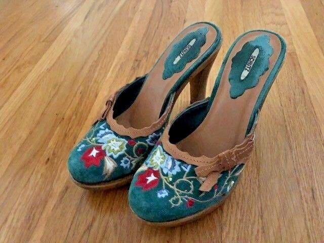 Schutz green floral suede clogs, size US 6, heel is 4 , women's shoes