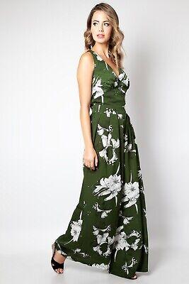 VOODOO VIXEN Eden floral wide leg jumpsuit JSA5647 Green Vintage UK8-16