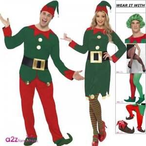 MENS CHRISTMAS ELF COSTUME ADULTS SANTAS LITTLE HELPER XMAS FESTIVE FANCY DRESS
