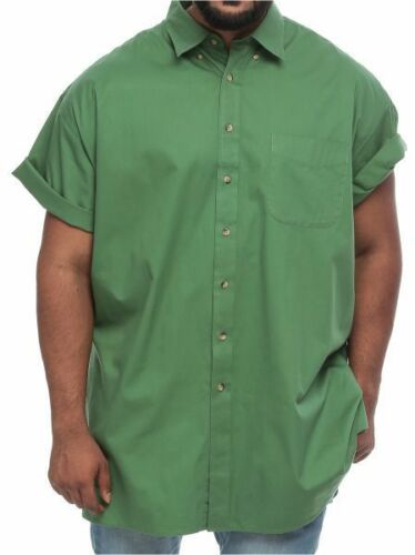Harbor BAY NEW BIG /& TALL Causal VERT OLIVE MANCHES COURTES Wrinkle Résistant