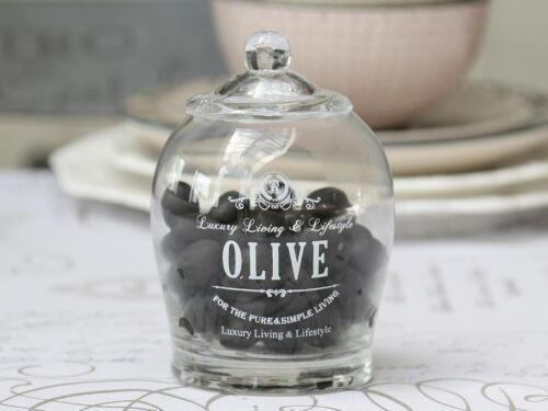 Glas für Oliven mit Deckel und Löffel Chic Antique Nostalgie Glas Vintage H 11cm