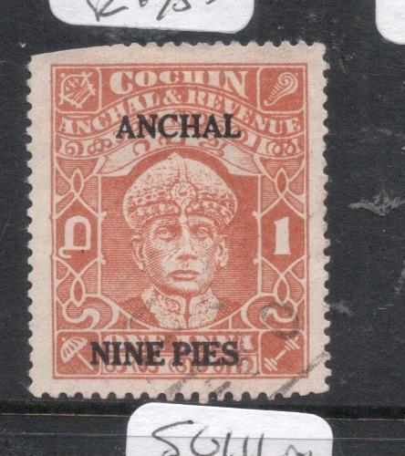 India Cochin SG 81, 300 GBP Catalog See Upper Left Corner Used VFU 9dll