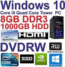 Windows 10 Core i5 Quad Core HDMI Gaming Tower PC 8GB DDR3 -128GB SSD&1000GB HDD