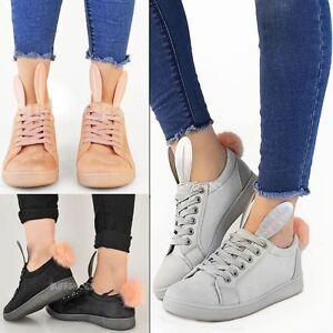 Womens Ladies Black Bunny PU Trainers Sneakers Fur Pom Pom Pumps Shoes UK 5
