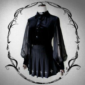 Lolita-Balloon-Long-Sleeve-Palace-Shirt-Chiffon-Spliced-Blouse-Gothic-Tops
