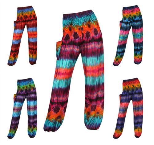 Harem Trousers Tie Dye Aladdin Smocked Hareem Pants Alibaba Hippie Festival Boho