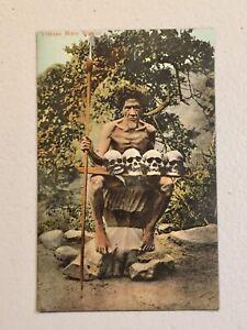 Vintage Head Hunter Cannibals Skulls Spear Philippines Moro Warrior 1920s