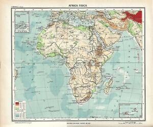 Cartina Giografica Africa.Carta Geografica Antica Africa Ante 2 Guerra Mondiale 1937 Antique Map Ebay