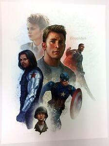 Details about Jason Palmer Signed Captain America Art Print ~ Chris Evans  Bucky Falcon Carter