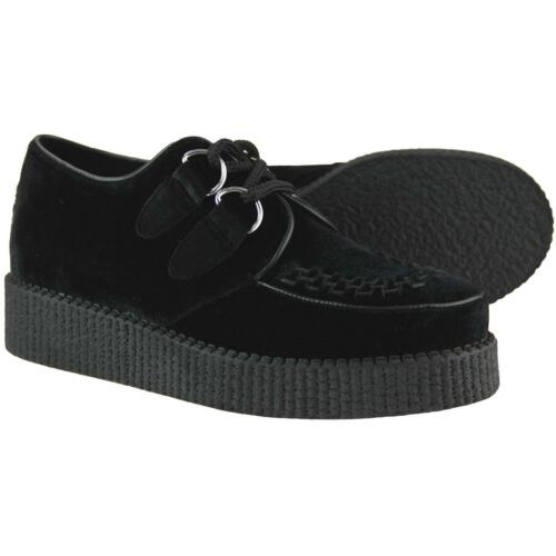 Rumble Black 50s Madcap Mod Womens Creepers Shoes 32406 Velvet Rockabilly New wqRXzXI