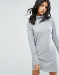 2f40336af057 Image is loading Noisy-May-Roll-Neck-Batwing-Knitted-Dress-Grey-
