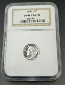 Proof-Silver-1963-P-Franklin-Roosevelt-10C-Dime-Coin-NGC-PF68-Cameo