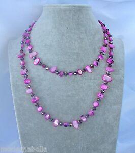 Naturale perle Collana Filo lungo madreperla,cristallo da donna,fucsia lilla