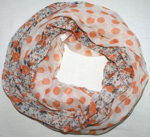 Fiori Punti Loopschal arancione fiorellini Loop Scialle PUNTO tubo scialle XXL