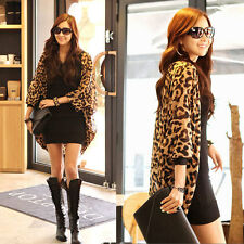 Women Leopard Batwing Sleeve Chiffon Casual Tops Blouse Jacket Cardigan Shirt