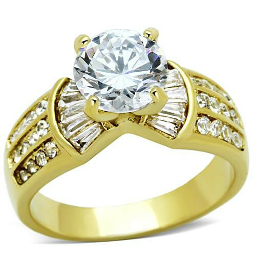 Gold Ring CZ 8mm Round Cut Stainless Steel Engagement Baguette Round Accents