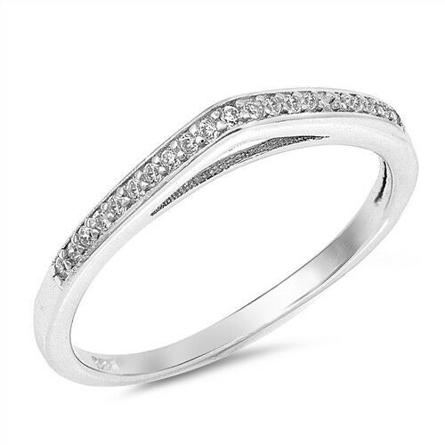 Clear CZ Raised Wedding Ring New .925 Sterling Silver Curved Band Sizes 4-10 NEW