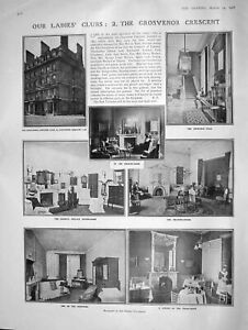 Original-Old-Antique-Print-1908-Grosvenor-Crescent-Ladies-Club-Hemphill-Rosyth