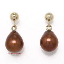 TPJ AAA Teardrop Chocolate Cultured Pearl Drop Earrings; 14k Yellow Solid Gold