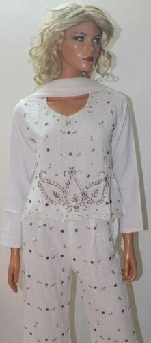 White  Girls  3 PCs Dupatta Pant Salwar kameez  Wedding Party wear