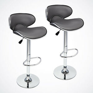NEW-2-Pcs-Gray-Modern-Bar-Stool-Adjustable-Height-Swivel-Counter-Chair-Barstools