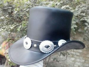 Handmade Genuine Black Leather GUNS N ROSES SLASH Style Mens Top Hat ... fa78aadaf3a