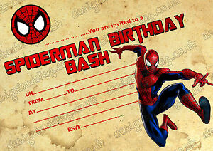 Details About Spiderman Super Hero Kids Birthday Party Invitations Spiderman Bithday X 8 Cards