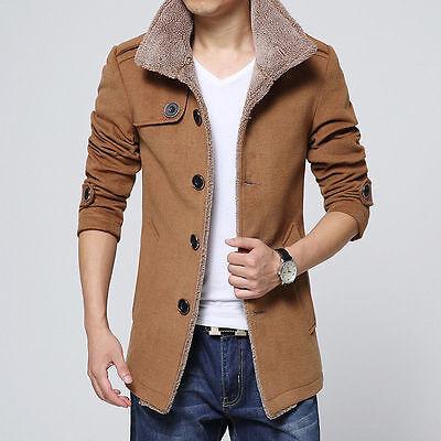 Winter Mens Wool Long Fleece Fur Jacket Trench Coat Lapel Collar Parka Outerwear