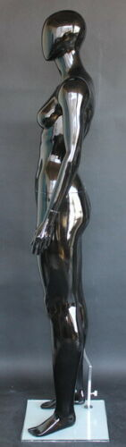 """Details about  /5/' 11/""""  Glossy Black Athletic Body torso Female Abstract Head Mannequin SFW51EHB"""