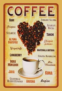 Coffee Types Tin Sign Shield Arched Metal 20 X 30 CM F0089