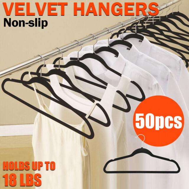 50 Black Nonslip Thin Velvet Hangers Coat Clothes Closet Space Saving Ultra Slim