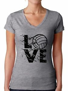 LOVE-Volleyball-Women-039-s-V-neck-T-shirt-Tops-Volleyball-Gifts-Game-Day