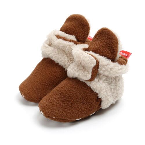 Newborn Baby Boys Girls Cotton Shoes Cozy Fleece Booties Non Skid Buckle Shoes