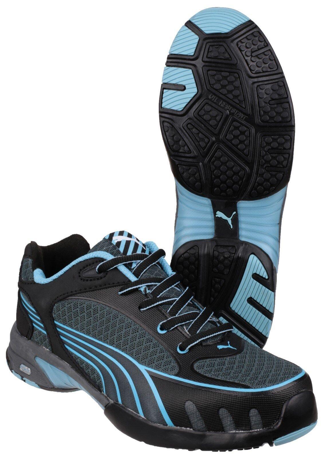 Puma miccia proposta nero / blu della donna, lavoro dei formatori scarpe uk2-8 sicurezza industriale