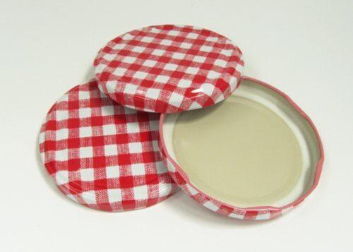 pack de 12 Nutley/'s diamètre 63mm vichy couvercle pour jam pots-rouge