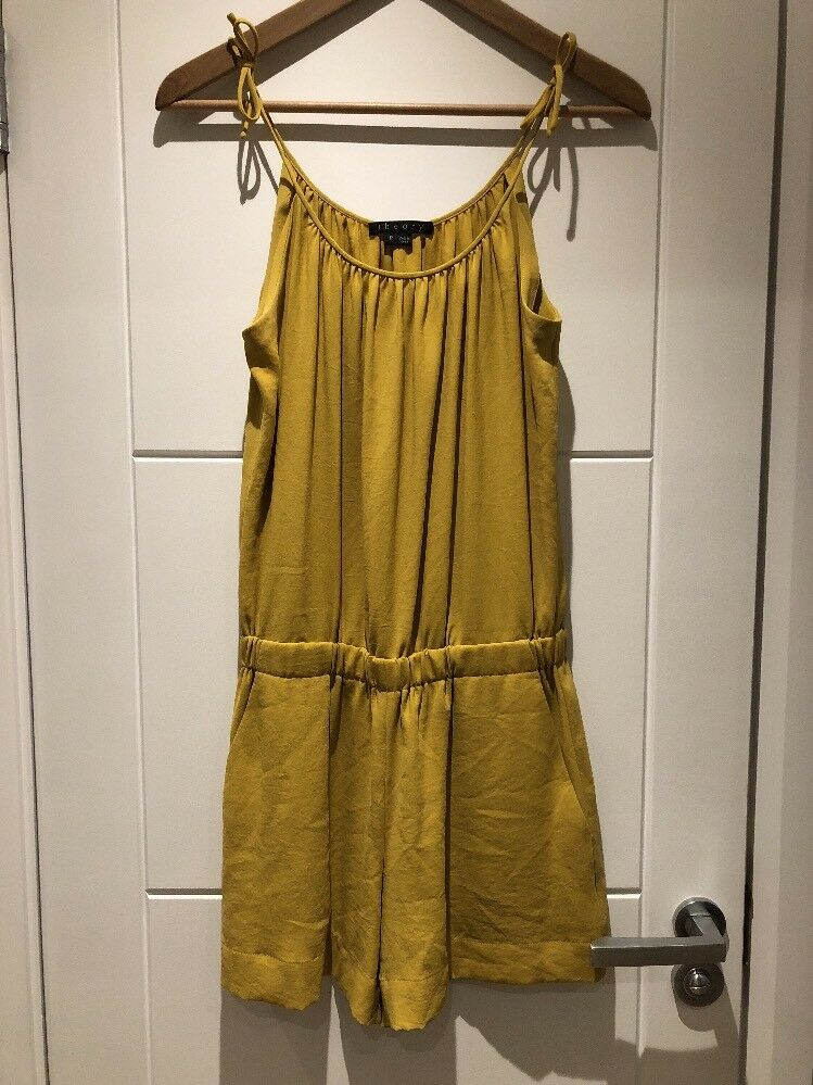 THEORY Yellow Short Romper Jumpsuit Strappy Sleeveless P XS S Petite Extra Small