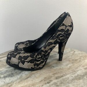 nine west black lace pump round toe heels shoe womens 55