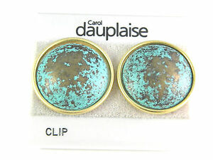 Carol-Dauplaise-Turquoise-Colored-Clip-On-Earrings-Vintage-Jewelry-Lovely