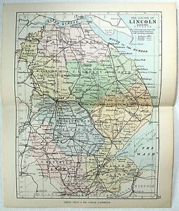 Original Philips 1891 Map Of The County Of Lincoln England Ebay