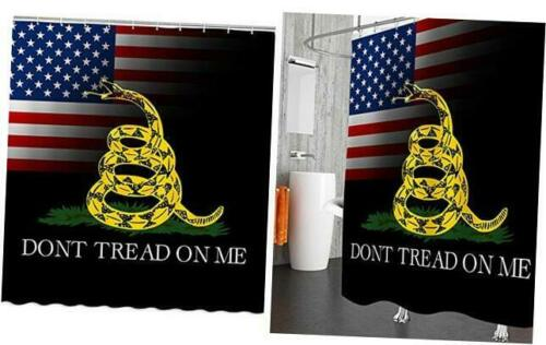 AMNYSF American Flag Shower Curtain Yellow Cartoon Snake Don/'t Tread on Me Decor