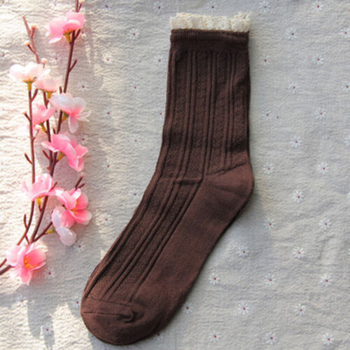 Ladies Cute Unique 50/'s Retro Cotton Rib Knitted Ankle//Crew Lace Trim Socks 4-6