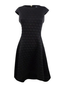 DKNY-Women-039-s-Textured-Fit-amp-Flare-Dress-2-Black