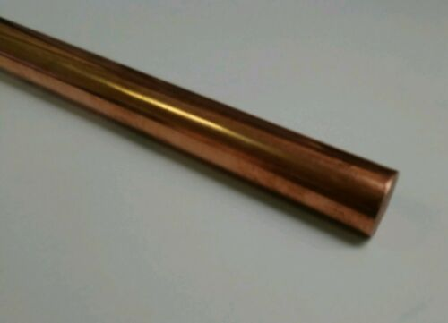 """110 H04 copper 1/"""" round rod stock 8/"""" long lathe machinist tool new solid bar"""