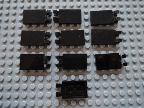 LEGO 10 X Carreau Drapeau Drapeau 30350 Noir 2x3 avec clip