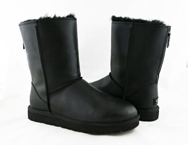 1d96c3c2f01 UGG Australia Classic Short Zip Black Leather Fur Sz 7 BOOTS 1013148