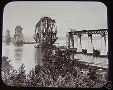 RARE Glass Magic Lantern Slide THE FORTH BRIDGE CONSTRUCTION NO11 1889 PHOTO RP